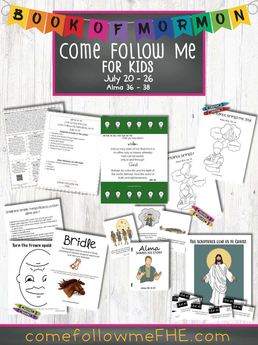 July 20 - July 26 Come Follow Me Lesson for Kids: Look to God and Live featured by Come Follow Me FHE