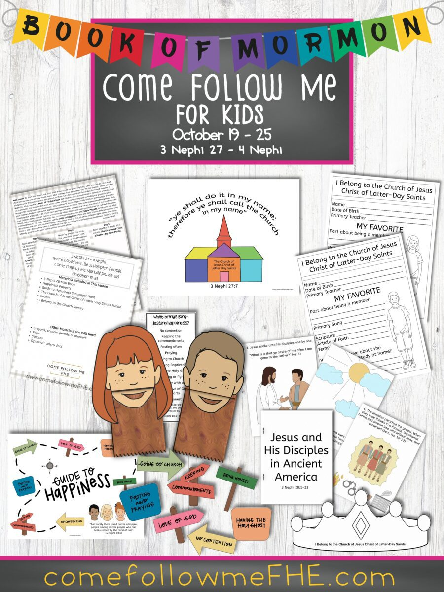 October 19 - October 25 Come Follow Me Lesson for Kids: There Could Not Be A Happier People featured by Come Follow Me FHE.