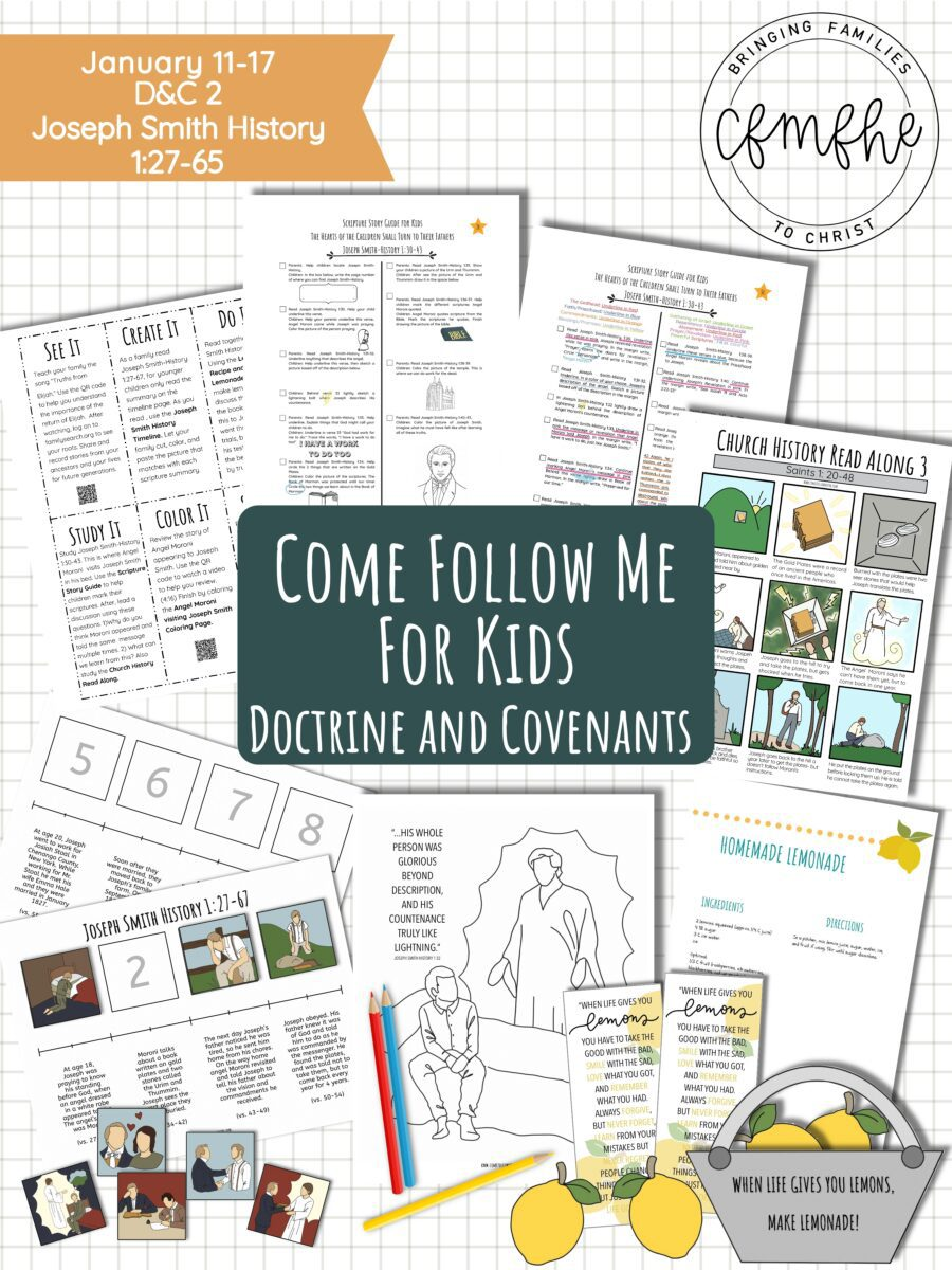 January 11 - January 17 Come Follow Me Lesson for Kids: The Hearts Of The Children Shall Turn To Their Fathers featured by Come Follow Me FHE.
