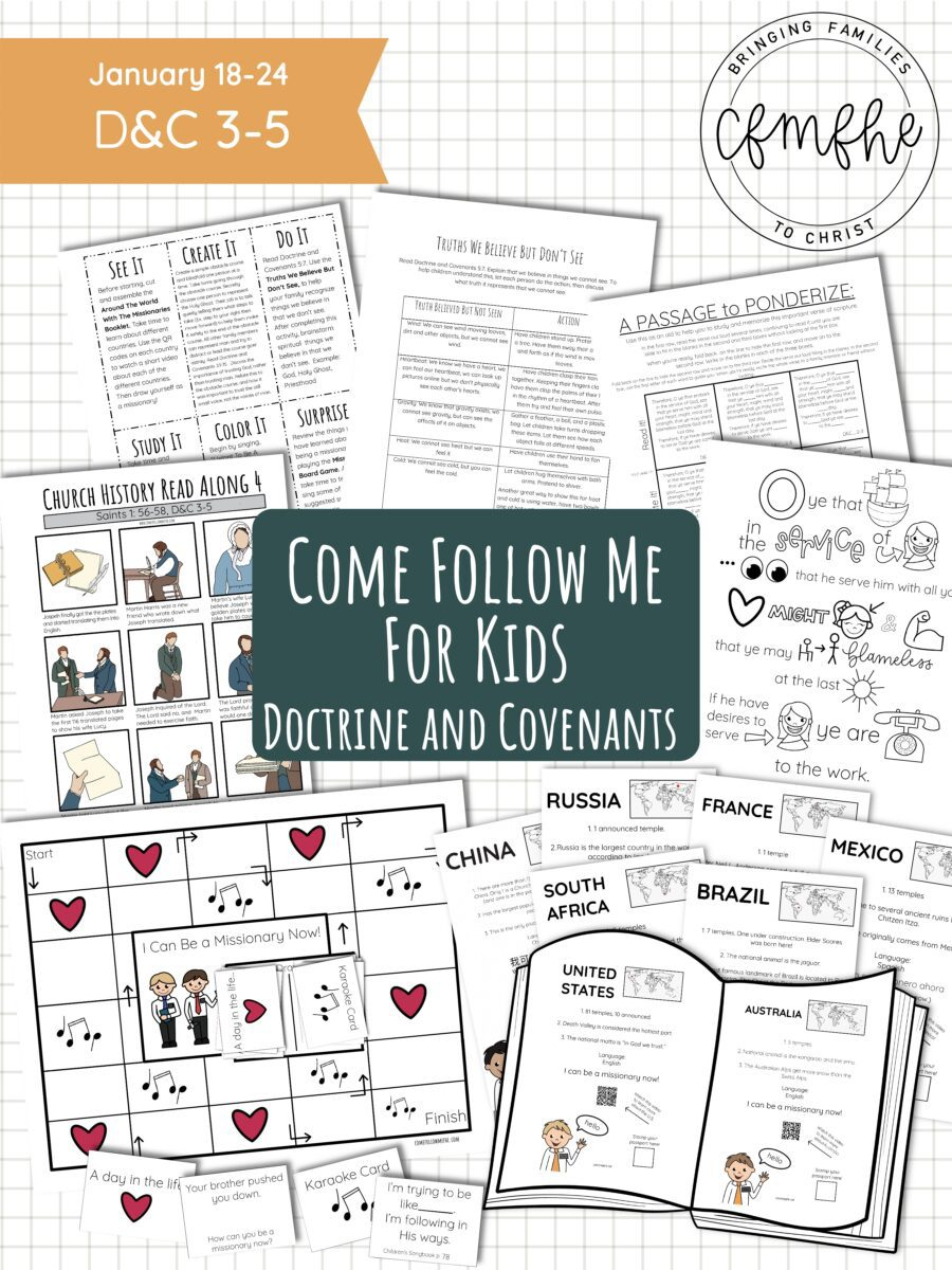 January 18 - January 24 Come Follow Me Lesson for Kids: My Work Shall Go Forth featured by Come Follow Me Lesson