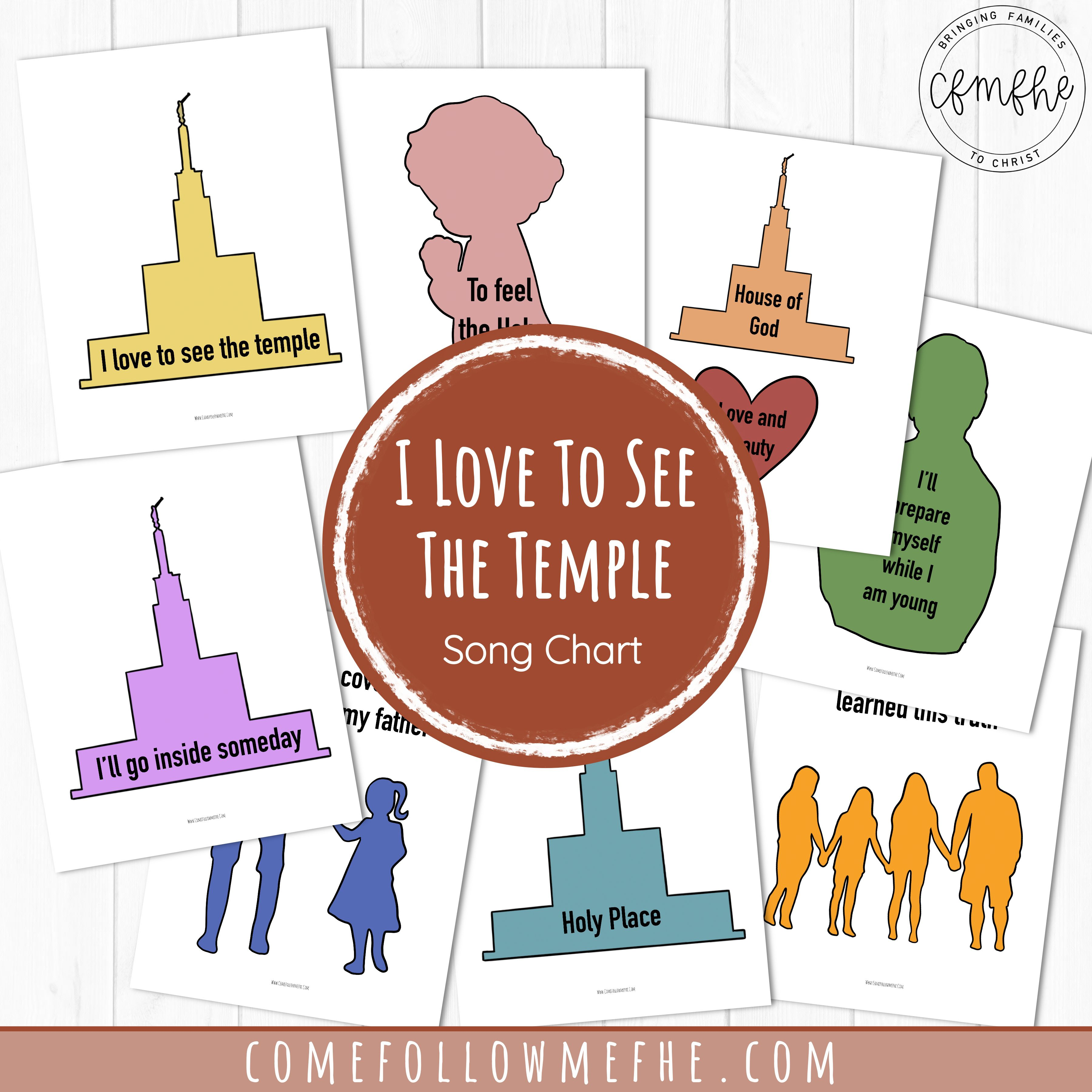 October LDS Primary song chart featured by Come Follow Me FHE
