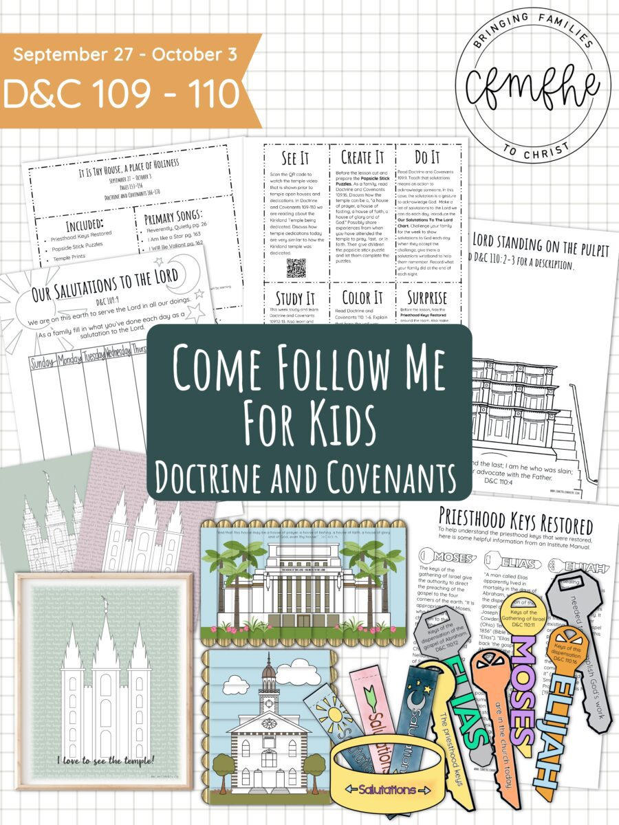 September 27 - October 3 Come Follow Me Lesson for Kids: It Is They House, A Place Of Thy Holiness by Come Follow Me FHE